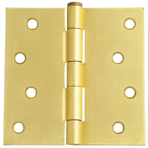 Satin Brass Eight-Hole Square Door Hinge, 4-Inch by 4-Inch