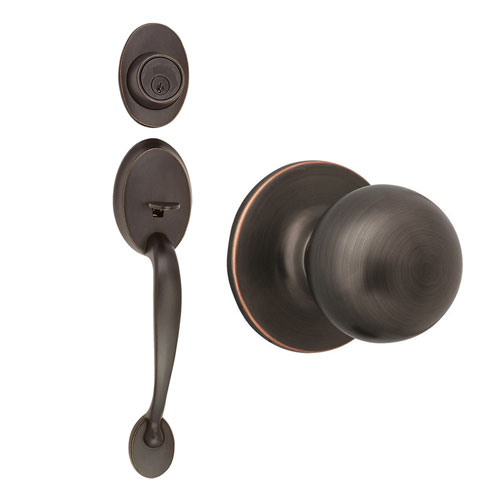 Design House Coventry Oil Rubbed Bronze Two-Way Latch Handle Set with Entry Door Knob