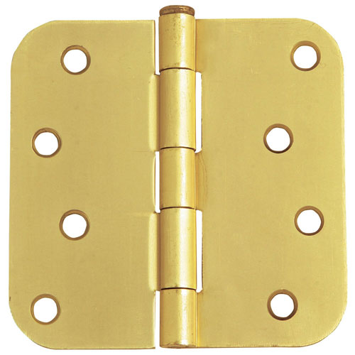 Satin Brass Eight-Hole 5/8-Inch Radius Door Hinge, 4-Inch by 4-Inch