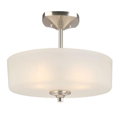 Design House Perth 3-Light Semi-Flush Mount Light, Satin Nickel Finish