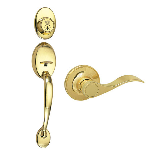Design House Coventry Polished Brass Two-Way Entry Door Handle Set with Lever