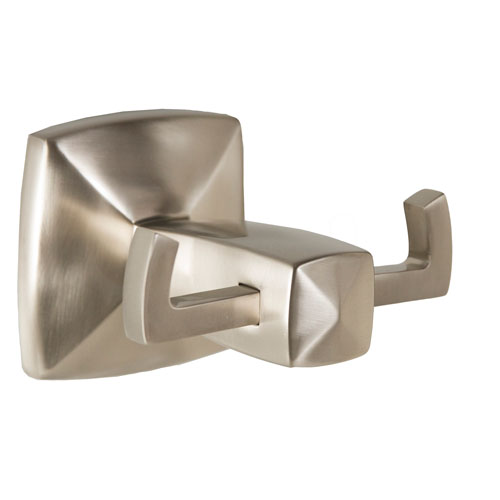 Perth Double Robe Hook, Satin Nickel Finish