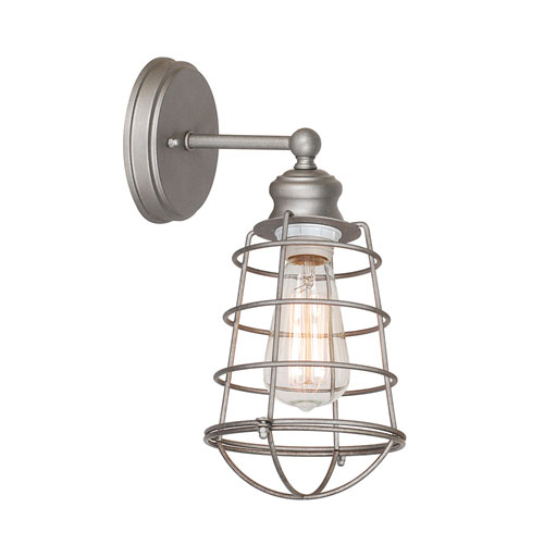 Ajax Galvanized 1-Light Bathroom Wall Sconce