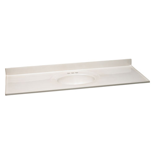 Design House Richland White on White Single Bowl Cultured Marble Vanity Top, 61-Inches by 22-Inches