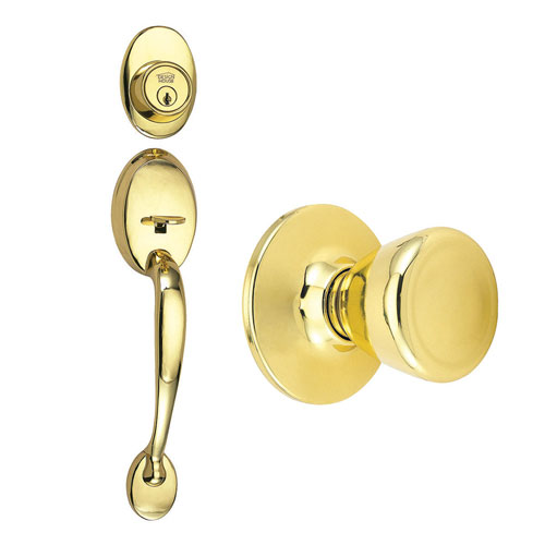 Design House Coventry Polished Brass Two-Way Latch Handle Set with Entry Tulip Knob