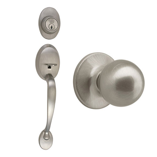 Design House Coventry Satin Nickel Two-Way Latch Entry Handle Set