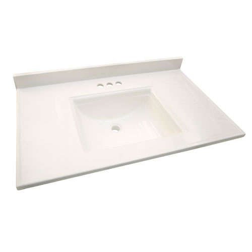 Camilla Vanity Top with 4-Inch Backsplash, 37-inches by 22-inches, Solid White