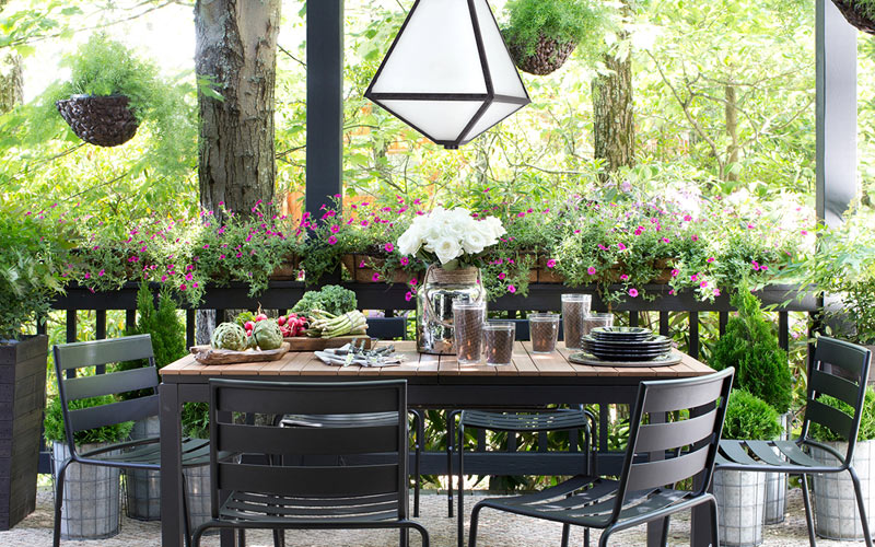 Contemporary Mixed Material Patio Dining