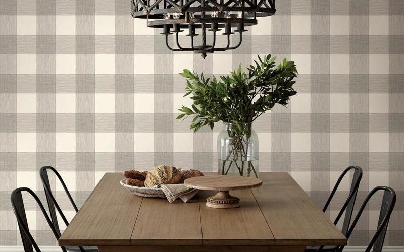 Plaid Rustic Industrial Dining Room