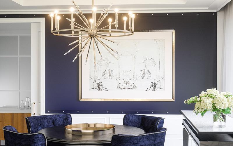 Glam Metallic Mid Century Modern Dining Room