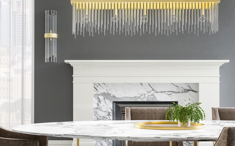 Gold & Marble Modern Glam Dining Room
