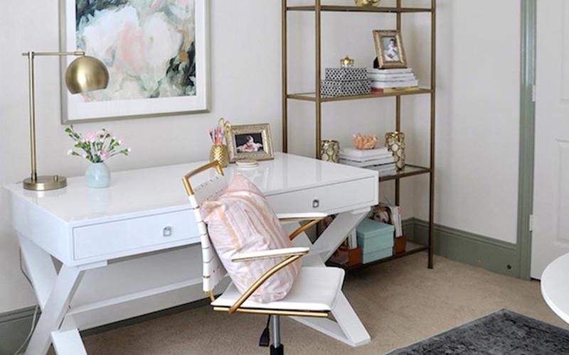 White & Gold Glam Office