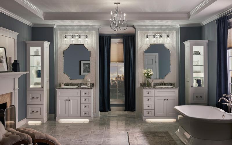 White & Gray Transitional Bathroom