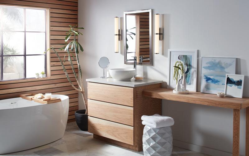 Modern Coastal Teak Bathroom