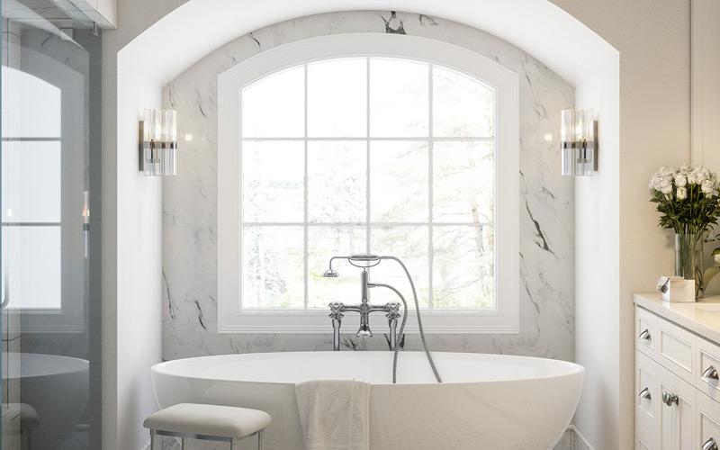 White & Silver Contemporary Bathroom