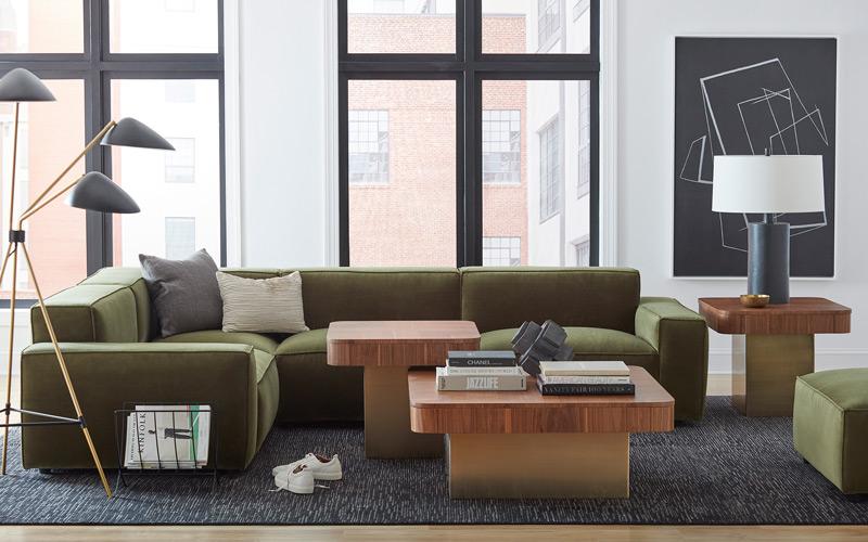 Green & Gold Contemporary Modular Living Room