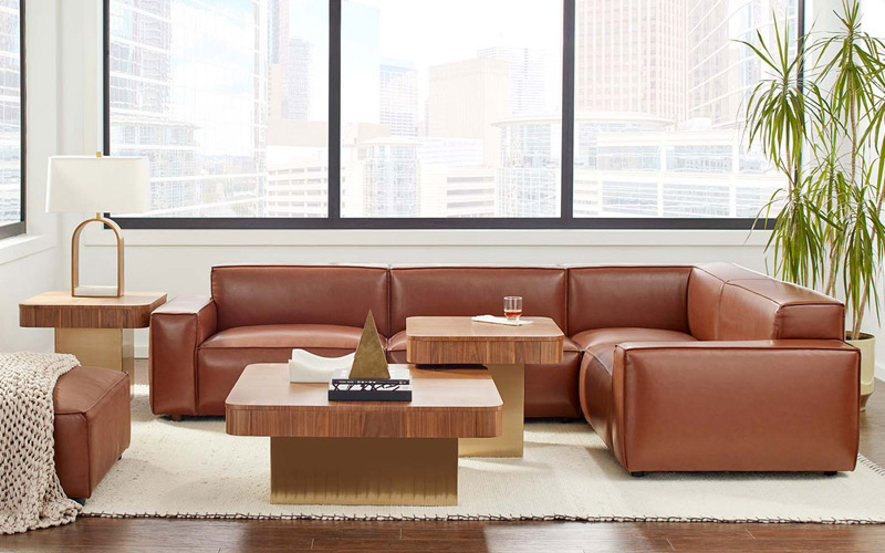 Brown & Gold Modern Modular Living Room