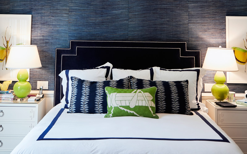 Navy & White Transitional Bedroom