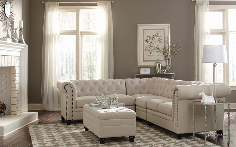 Tan & White Plush Luxe Living Room
