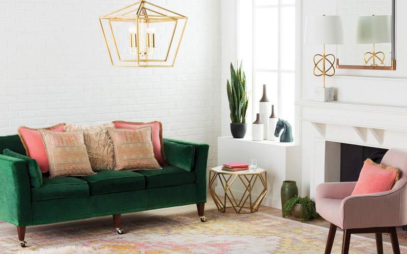 Green & Blush Luxe Living Room