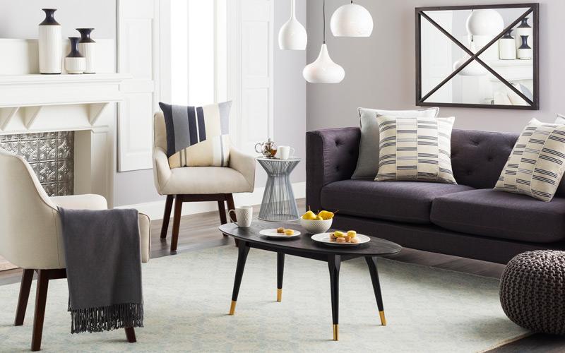Black White & Gray Modern Living Room