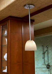Justice Design Group Fusion Brushed Nickel One Light Short Tapered Cylinder Mini  Pendant Rigid Stem