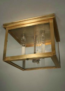Northeast Lantern Williams Antique Br Three Light Outdoor Flush Mount With Clear Gl