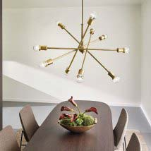 contemporary lighting pendants. Natural Brass Ten-Light Starburst Pendant Contemporary Lighting Pendants