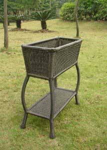 Resin Wicker Outdoor Plant Stand
