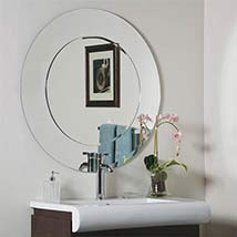 Oriana Modern Round Beveled Bathroom Mirror