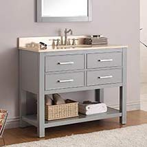 Chilled Gray 42 Inch Vanity Combo With Galala Beige Marble Top