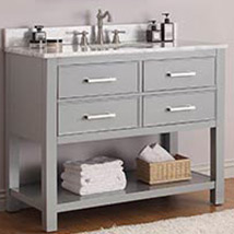 Chilled Gray 42 Inch Vanity Combo With Carrera White Marble Top