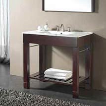 Beau 36 Inch Dark Walnut Vanity And Vitreous China Counter Top