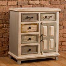 LaRose Five Drawer Accent Cabinet With Solid Wood Door