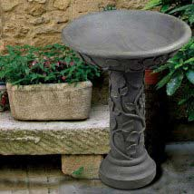 Vine Bronze Patina Outdoor Bird Bath Stone