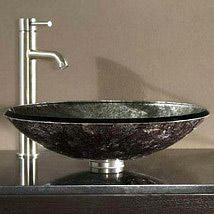 Tempered Glass Vessel Sink   Metallic Silver
