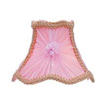 Chandelier shades mini lamp shades bellacor pink victorian scalloped bell clip chandelier shade w fancy trim aloadofball Gallery