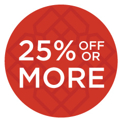 25% off or more