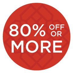 80% off or more
